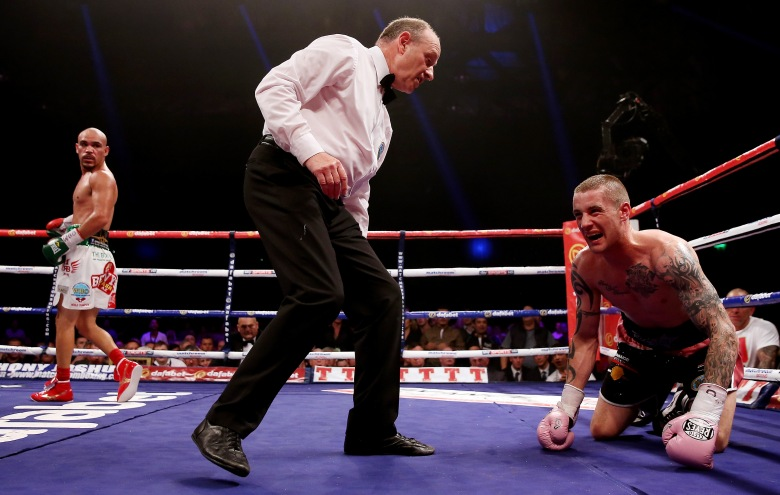 Ricky Burns after being knocked down by Raymundo Beltran (Getty)