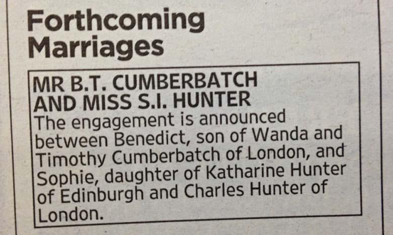 Benedict Cumberbatch Wedding Announcement