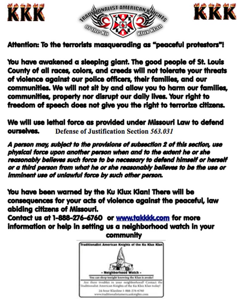 kkk ferguson warning flyer