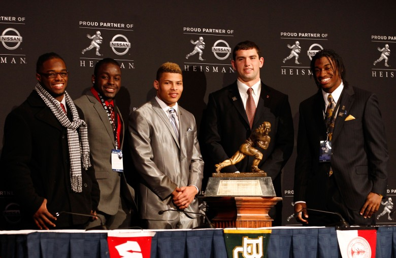 The 2011 finalists: Alabama's Trent Richardson, Wisconsin's Montee Ball, LSU's Tyrann Mathieu, Stanford's Andrew Luck, and Baylor's Robert Griffin III. Griffin won the honor. (Getty)