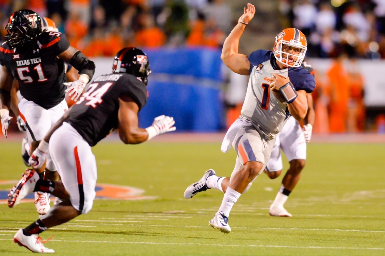 UTEP quarterback Jameill Showers has thrown only 5 interceptions this season. (Getty)