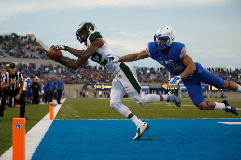 Colorado State's Rashard Higgins catches a touchdown against Air Force earlier this season. (Getty)