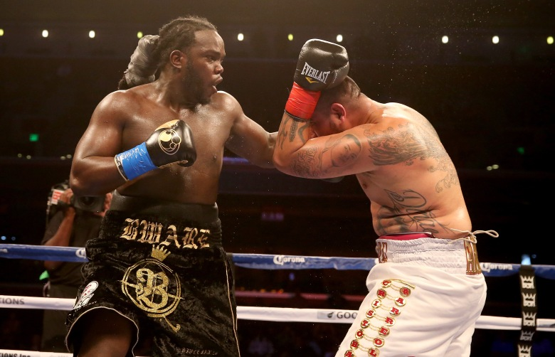 Bermane Stiverne throws a punch at Chris Arreola in their WBC Heavyweight Championship match.  (Photo by Stephen Dunn/Getty Images)