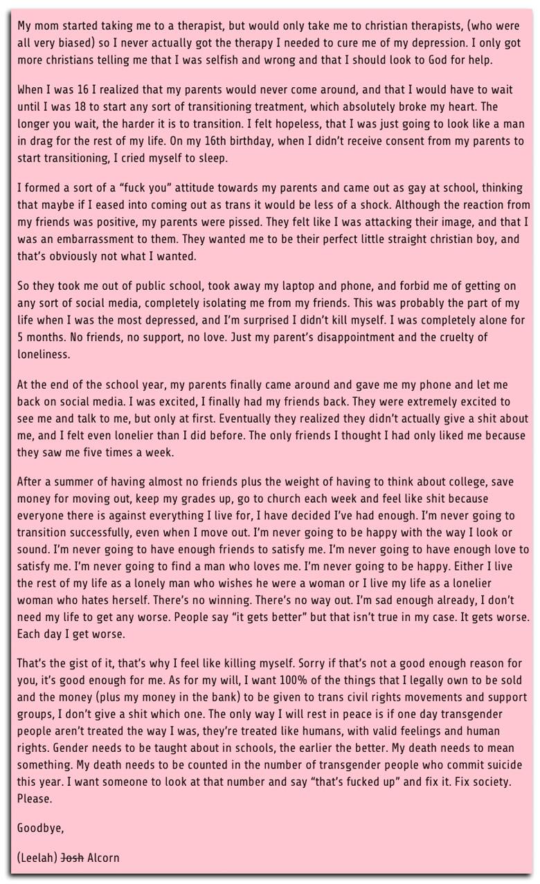 transgender teen suicide, leelah alcorn suicide note, leelah alcorn tumblr, joshua alcorn suicide
