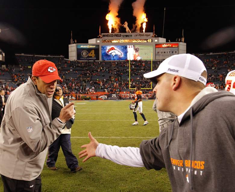 Former Chiefs head coach gives McDaniels, then with the Broncos, an earful after a game in 2010. (Getty)