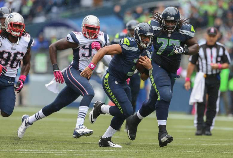 Russell Wilson and the Seahawks are slight underdogs in most sportsbooks to the New England Patriots in the Super Bowl. (Getty)