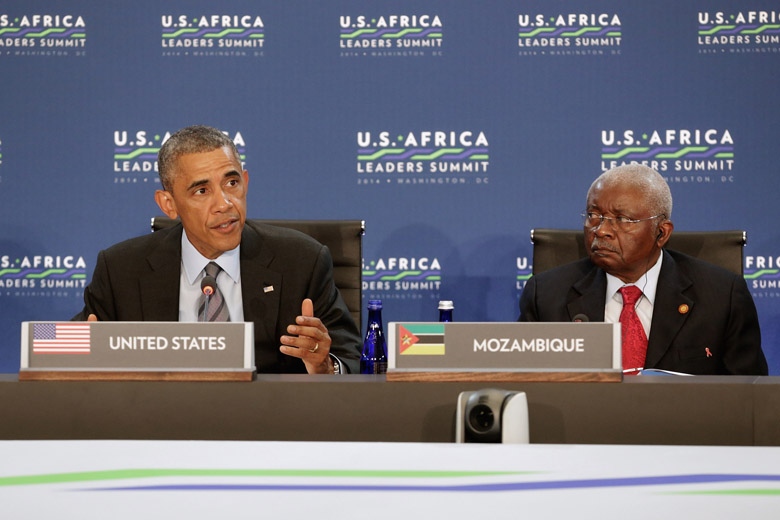 Mozambique's President Armando Guebuza pictured with Barack Obama in October 2014. (Getty)