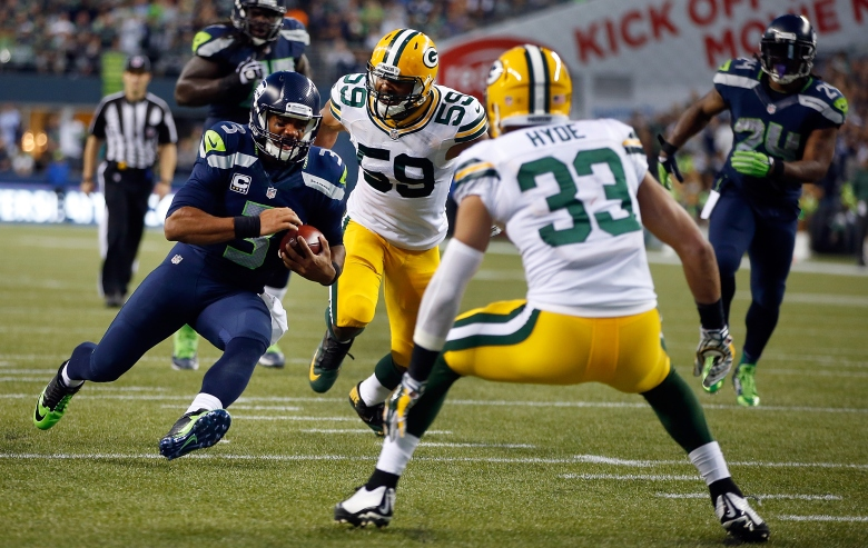 Quarterback Russell Wilson and the Seahawks play the Packers in the NFC Championship. (Getty)