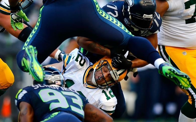 Seattle and Green Bay met in the season-opener and the Seahawks stifled Aaron Rodgers and the Packers in a 36-16 win. (Getty)