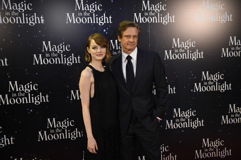Co-stars Emma Stone and Colin Firth at the premiere for Allen's 2014 movie Magic in the Moonlight. (Getty)