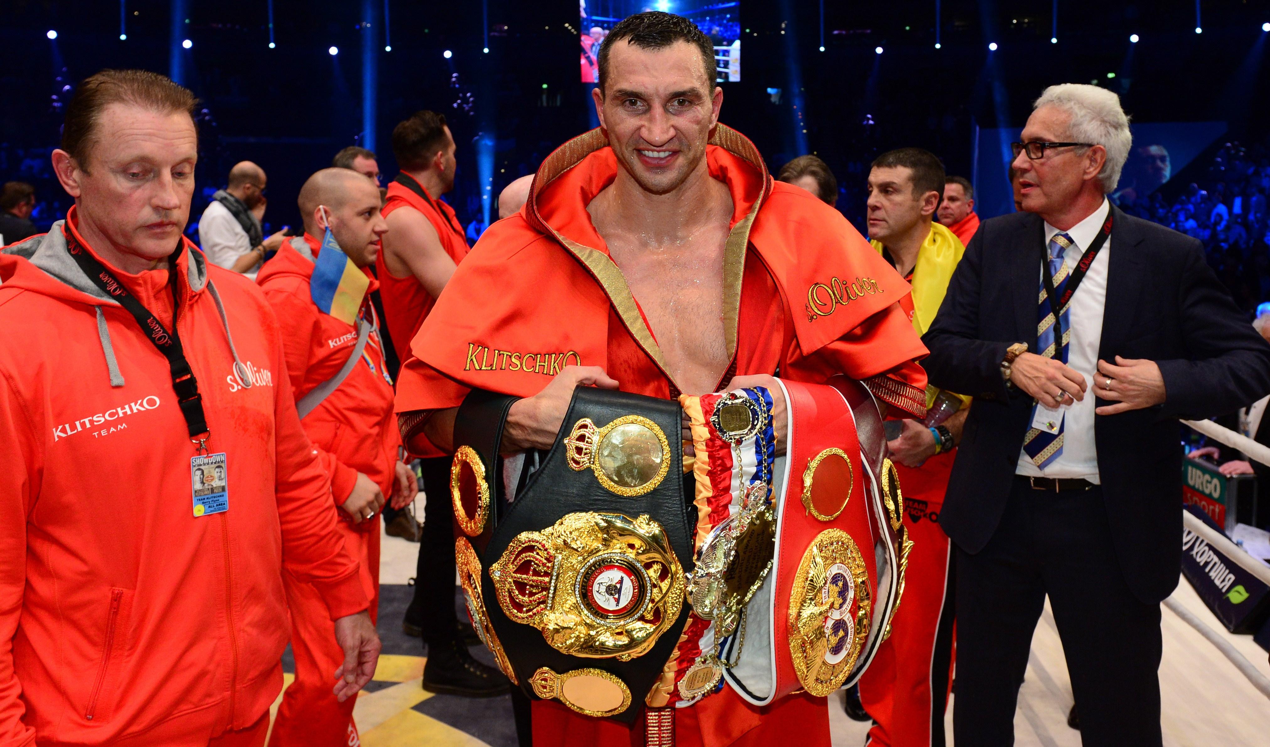 Ukrainian heavyweight boxing world champion Wladimir Klitschko poses with his titles. (Getty)