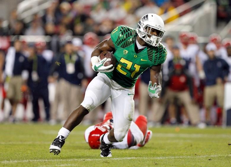 Oregon freshman running back Royce Freeman has rushed for 18 touchdowns. (Getty)