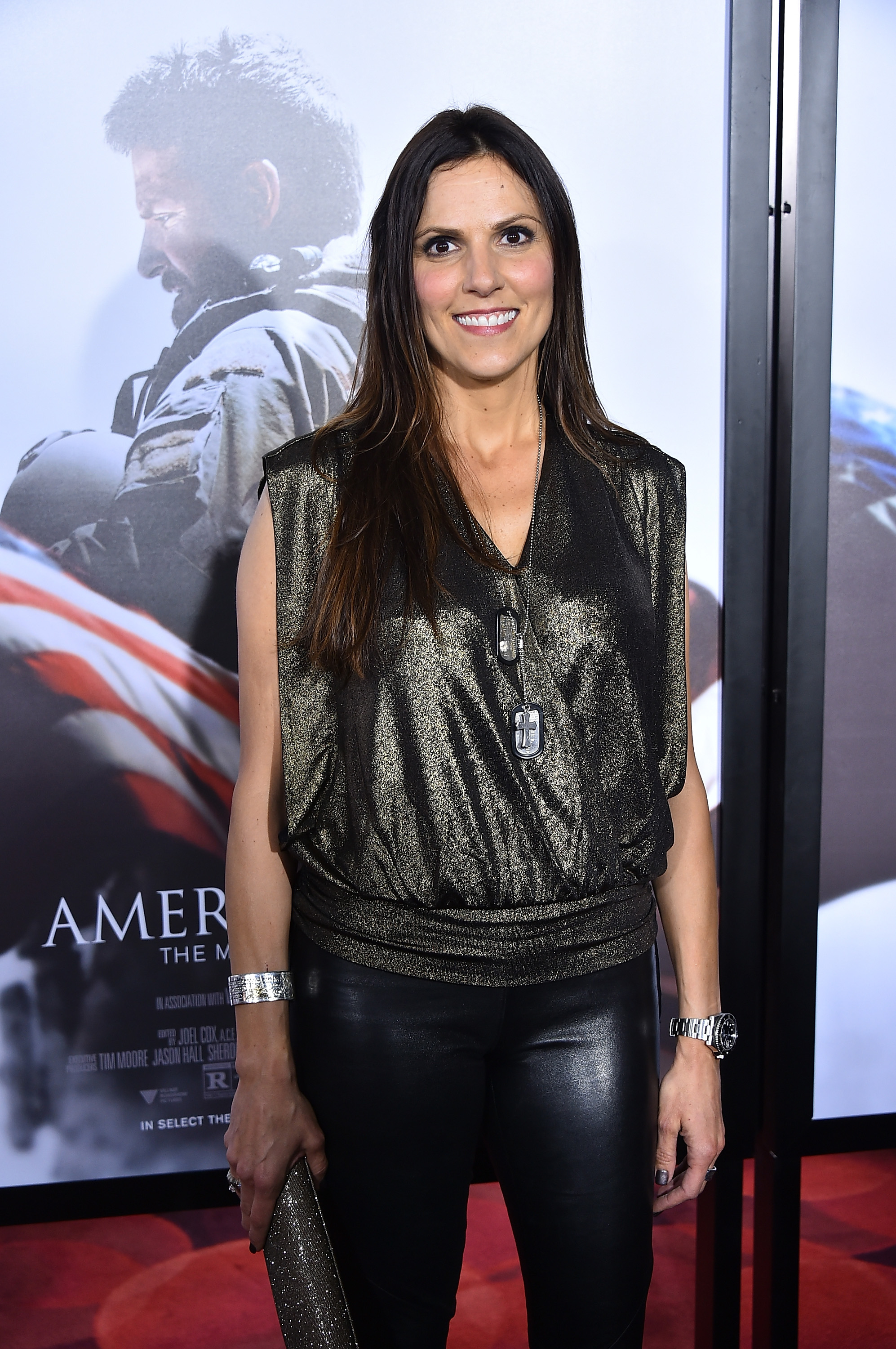 Taya Kyle, wife of Chris Kyle, arrives at the American Sniper premiere. (Getty)