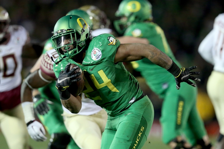 Thomas Tyner will also get carries in the Oregon backfield Monday night. (Getty)