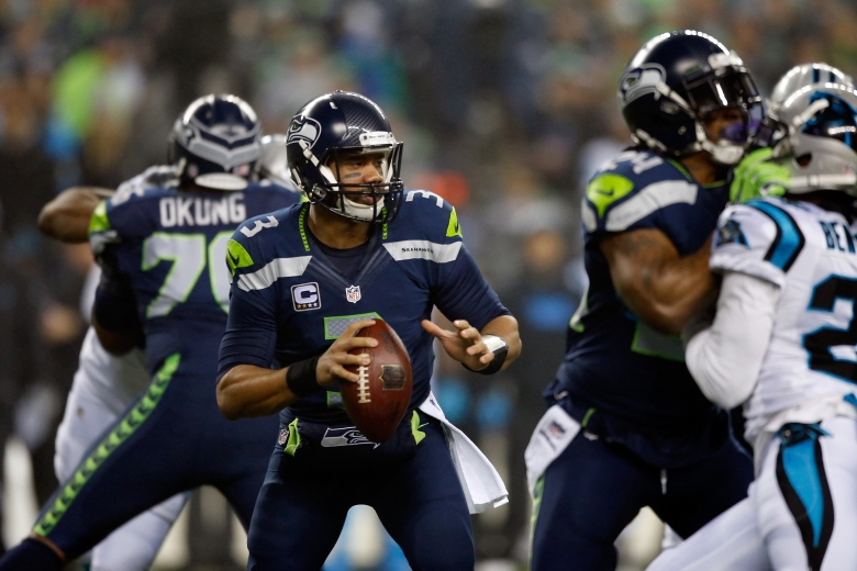 Russell Wilson threw the first touchdown of the game. (Getty)