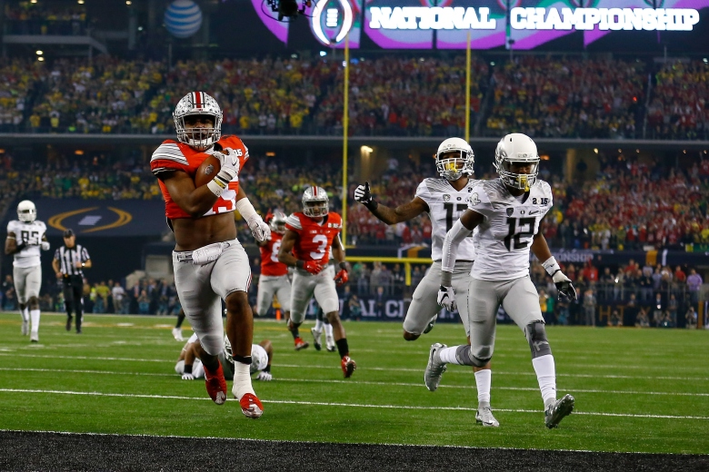 Ohio State's Ezekiel Elliott runs for 1 of his 4 touchdowns vs. Oregon Monday night in the National Championship Game. (Getty)