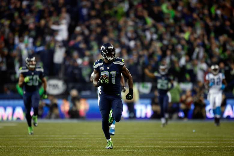 Kam Chancellor returns an interception for a score in the NFC playoffs. (Getty)
