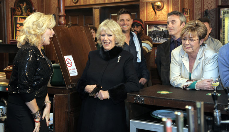 Kirkbride joined on set by Prince Charles' wife, Camilla Parker Bowles. (Getty)