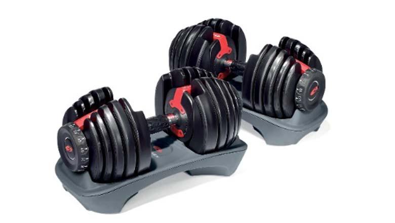 adjustable dumbbells, working out