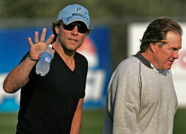 Jon Bon Jovi with Bill Belichick. (Boston.com)