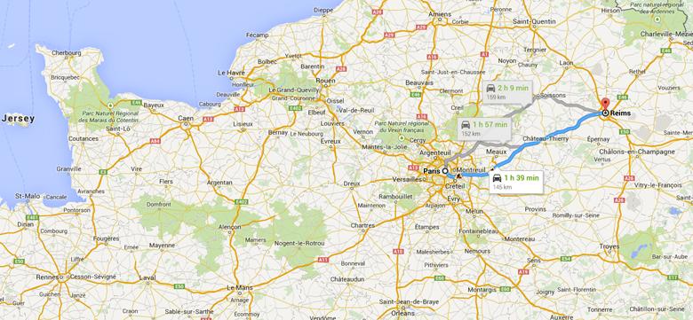 Reims to Paris terrorist map
