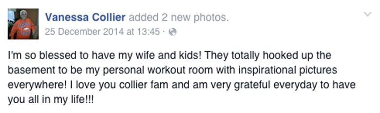 Collier's last Facebook post on Christmas Day, five days before her death.