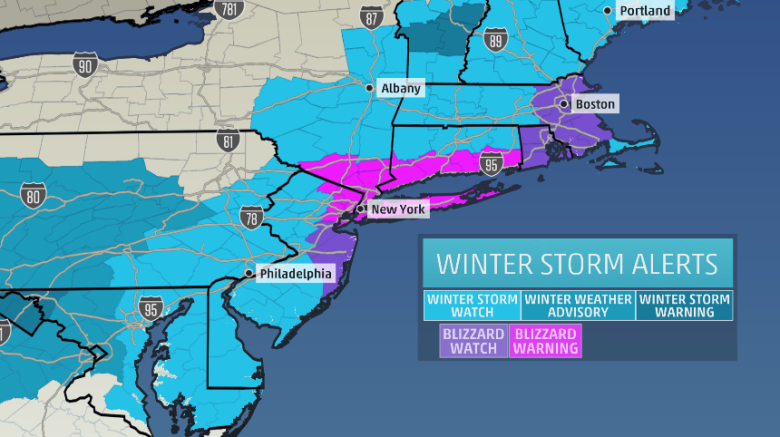blizzard warning and blizzard watch for Winter Storm Juno