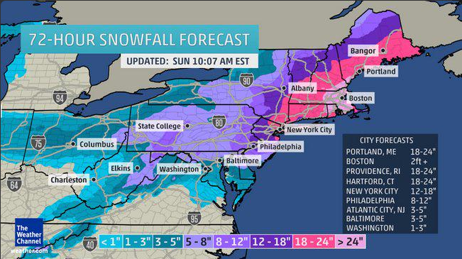 Winter Storm Juno snow fall predictions map