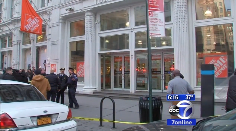 The scene in the aftermath of the shooting. (Screengrab via ABC New York)