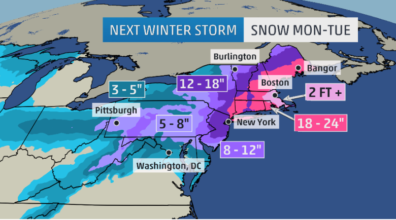 Winter Storm Juno snow fall map