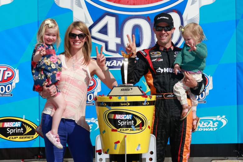 Kenseth celebrates an April 2013 victory with his wife Katie and two daughters. (Getty)