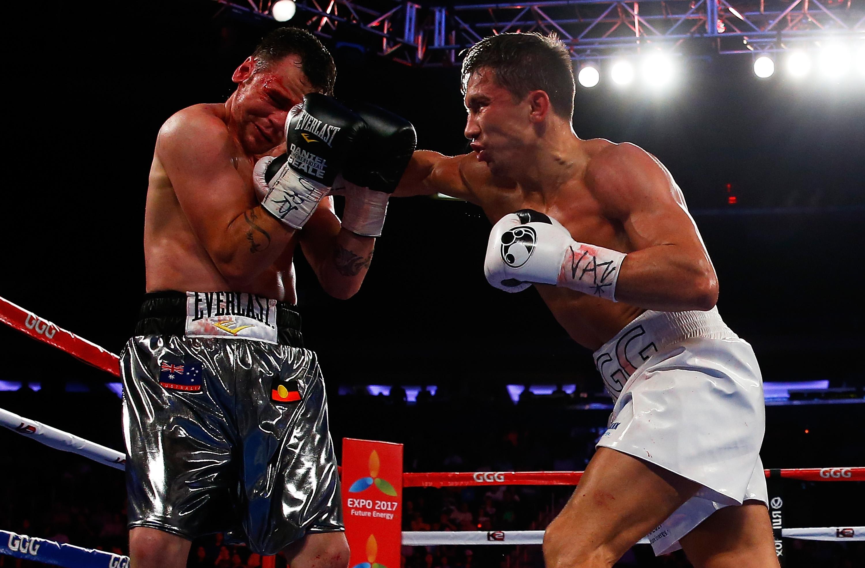 Gennady Golovkin punches Daniel Geale. (Getty)