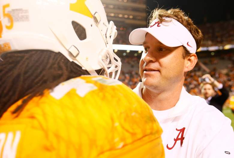 Johnson pictured with former Alabama offensive coordinator Lane Kiffin. (Getty)