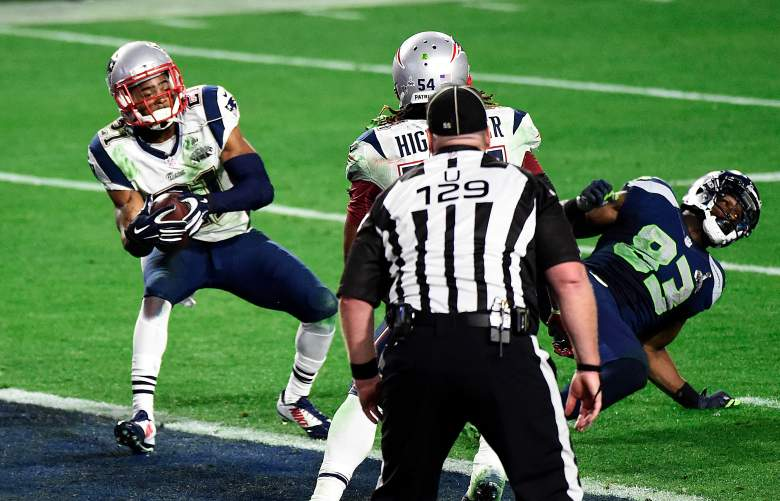 Malcolm Butler of the Patriots makes the game-winning interception with under 30 seconds left in New England's 28-24 win over Seattle in Super Bowl 49. (Getty)