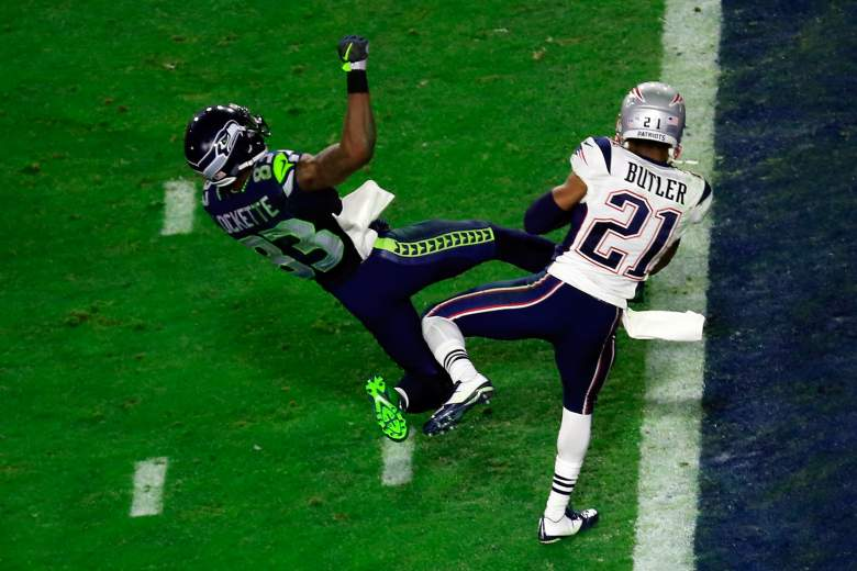 Malcolm Butler intercepts a Russell Wilson pass to seal New England's 28-24 victory. (Getty)