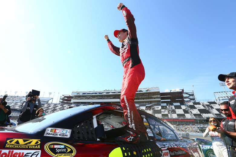 Jeff Gordon celebrating after qualifying for pole position at Daytona in February 2014. (Getty)