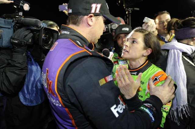 Danica Patrick and Denny Hamlin had words after Budweiser Duel 2 Thursday night. (Getty)
