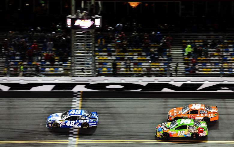 Jimmie Johnson, seen here winning Budweiser Duel 2 Thursday night, will start in the second position in Sunday's Daytona 500. (Getty)