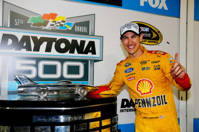 24-year-old Joey Logano drove the No. 22 Ford car to victory in the 2015 Daytona 500. (Getty)