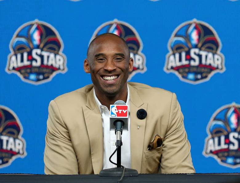 Kobe Bryant addressing the media before the 2014 NBA All-Star Game. (Getty)