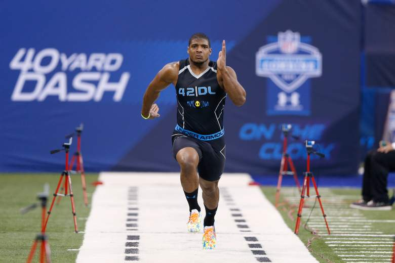 Michael Sam runs the 40-yard dash at the 2014 NFL Scouting Combine. (Getty)