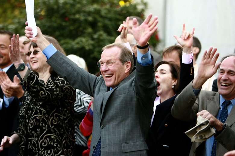 Brown celebrating signing of two bills protecting gay rights into law at the Oregon State Capital  in May 2007. (Getty)