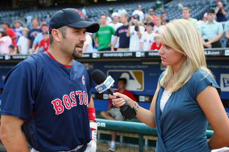Watney interviewing Jason Varitek. (Getty)
