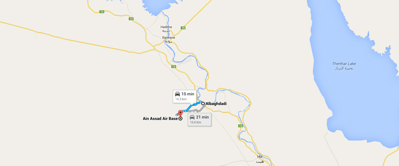 The base is shown here, 8.8 miles east of the town of Al-Baghdadi. (Google Maps)