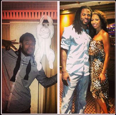 Sherman and girlfriend Ashley Moss. (Instagram)
