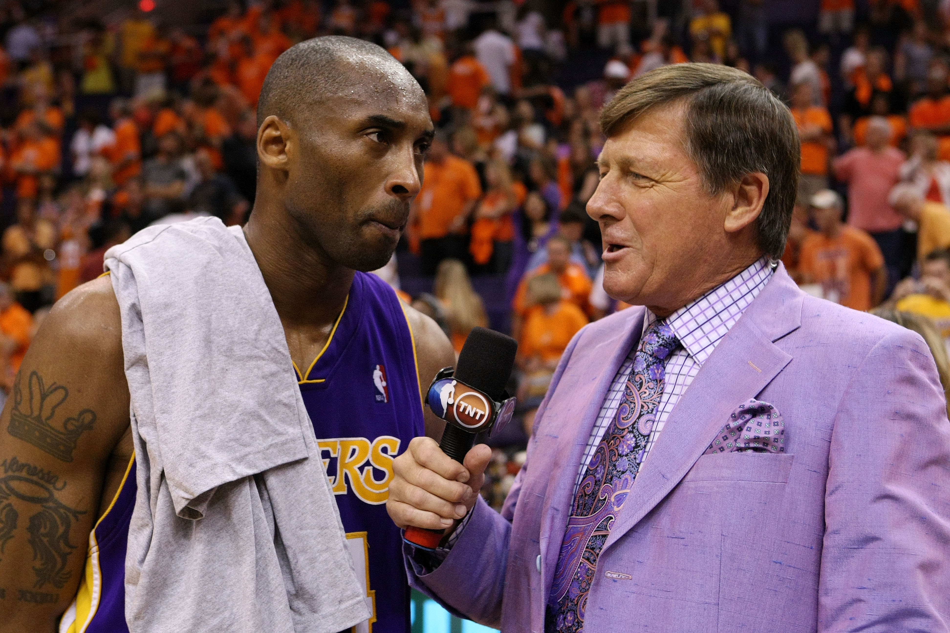 Sager interviewing Kobe Bryant after a game. (Getty)