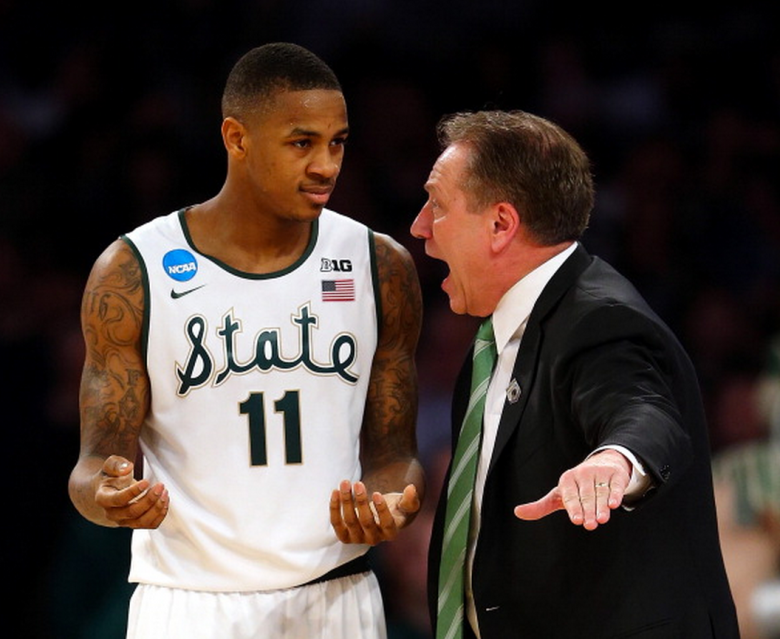 Head coach Tom Izzo of the Michigan State Spartans talks with Keith Appling #11 against the Connecticut Huskies during the East Regional Final of the 2014 NCAA Men's Basketball Tournament at Madison Square Garden on March 30, 2014 in New York City. (Getty)