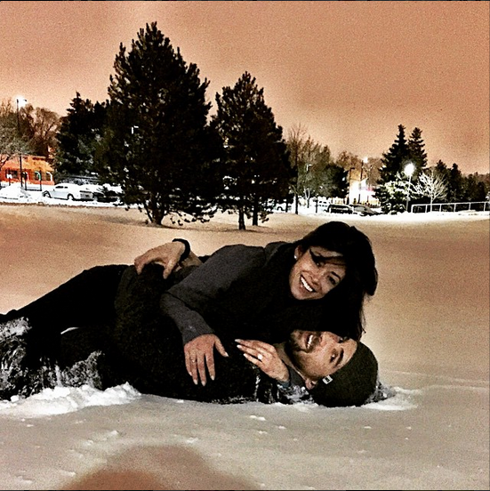 """Michael Phelps announced his engagement to girlfriend Nicole Johnson on his Instagram with this photo and a """"She said yes"""" caption. (Instagram)"""