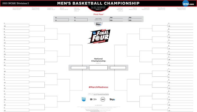 Printable NCAA tournament bracket 2015, Printable March Madness bracket 2015