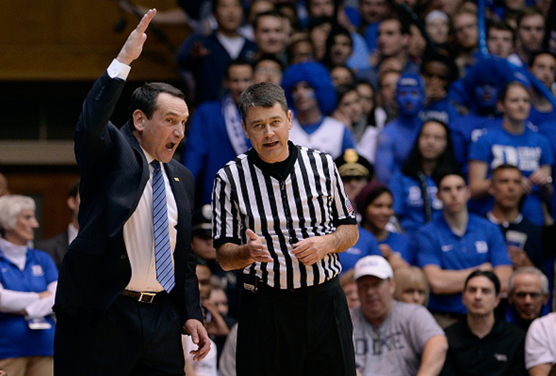 Head coach Mike Krzyzewski of the Duke Blue Devils argues with an official during their game against the North Carolina Tar Heels at Cameron Indoor Stadium on February 18, 2015 in Durham, North Carolina. (Getty)